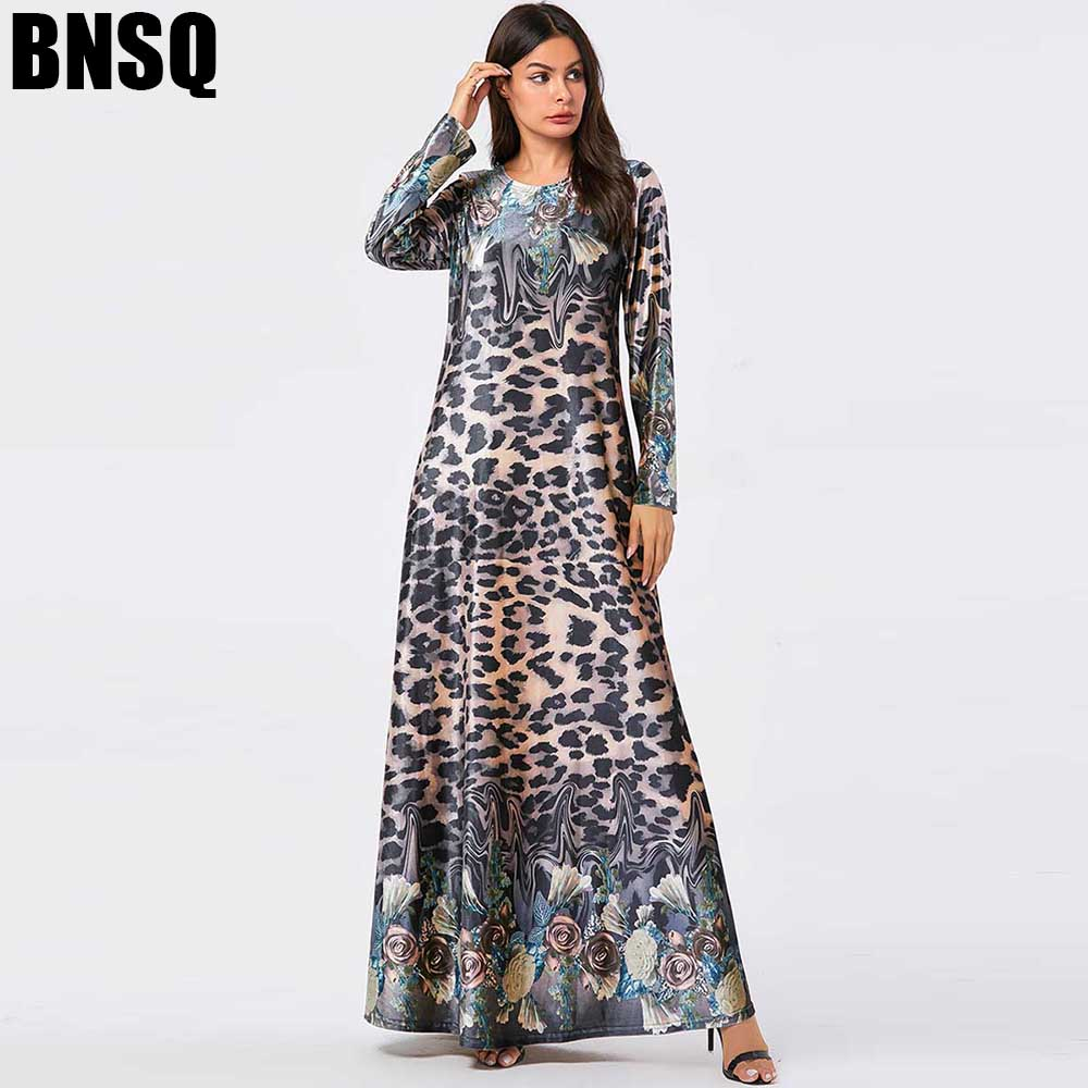 BNSQ Velvet Gold Thread Print Long Dress Blue Leaves Positioning Flower Long Sleeve Mopping Dresses Gray Leopard Print Clothes