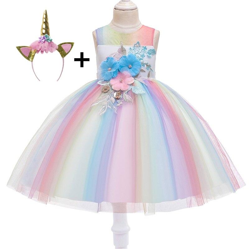 NEW Baby Girls Black lilac Rainbow Lace Dress Headband set Party Gift Princess