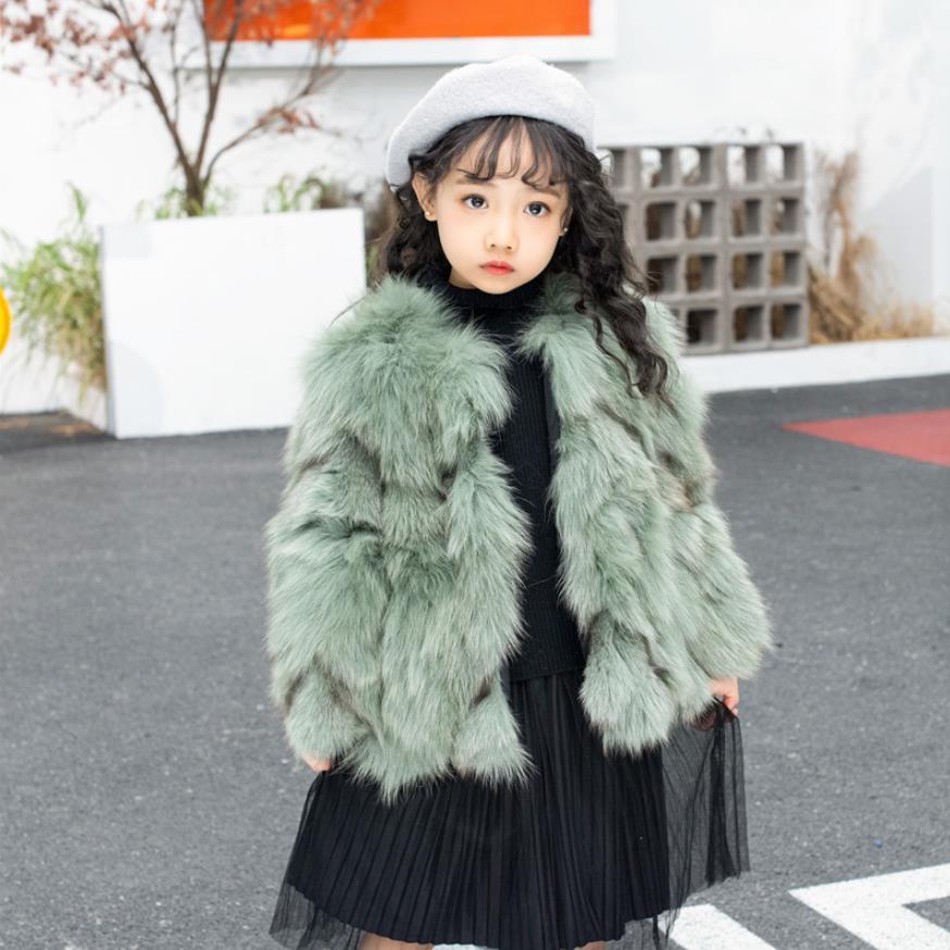 Luxury Children fur Jackets Winter Real Natural Fox fur Coat Thicker Warm Short Jackets Kids Genuine Fox Fur Overcoats Y2539