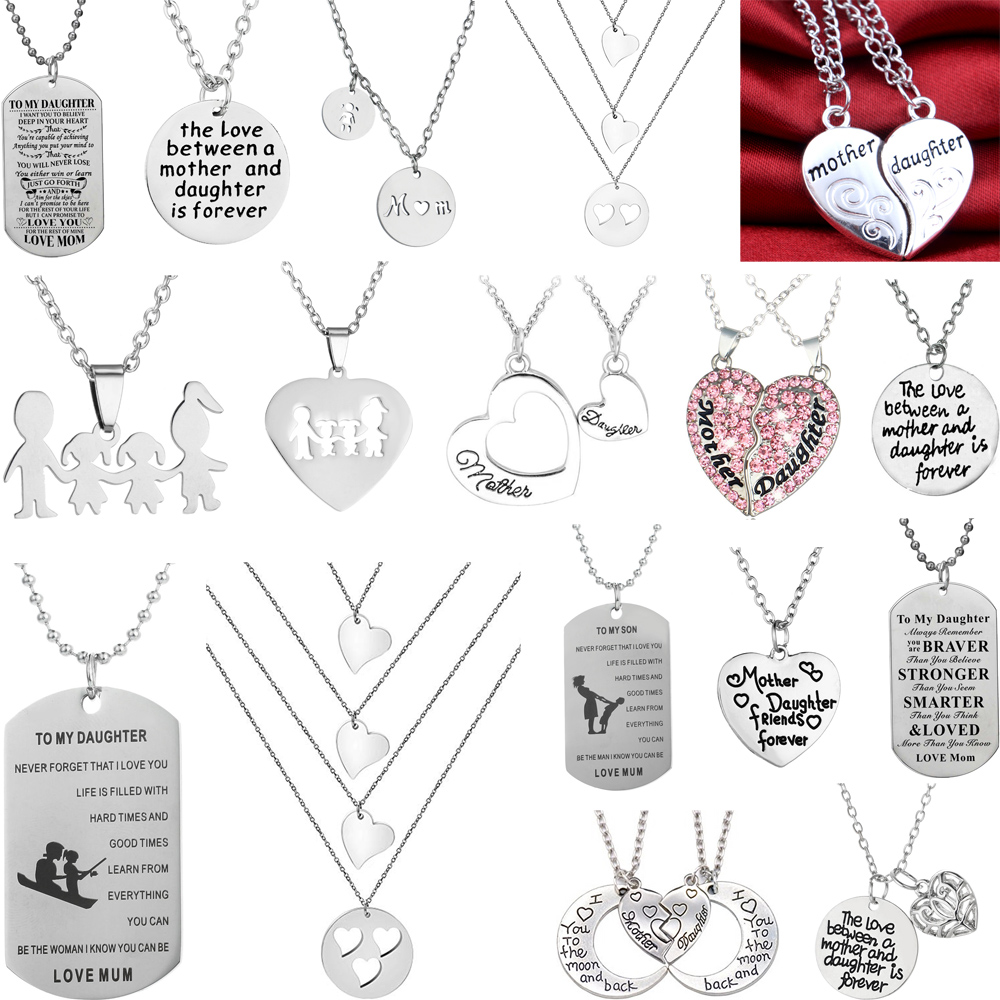 New Mother/'s Day Gift Mom Child Heart Pendant Chain Family Love Necklace Jewelry