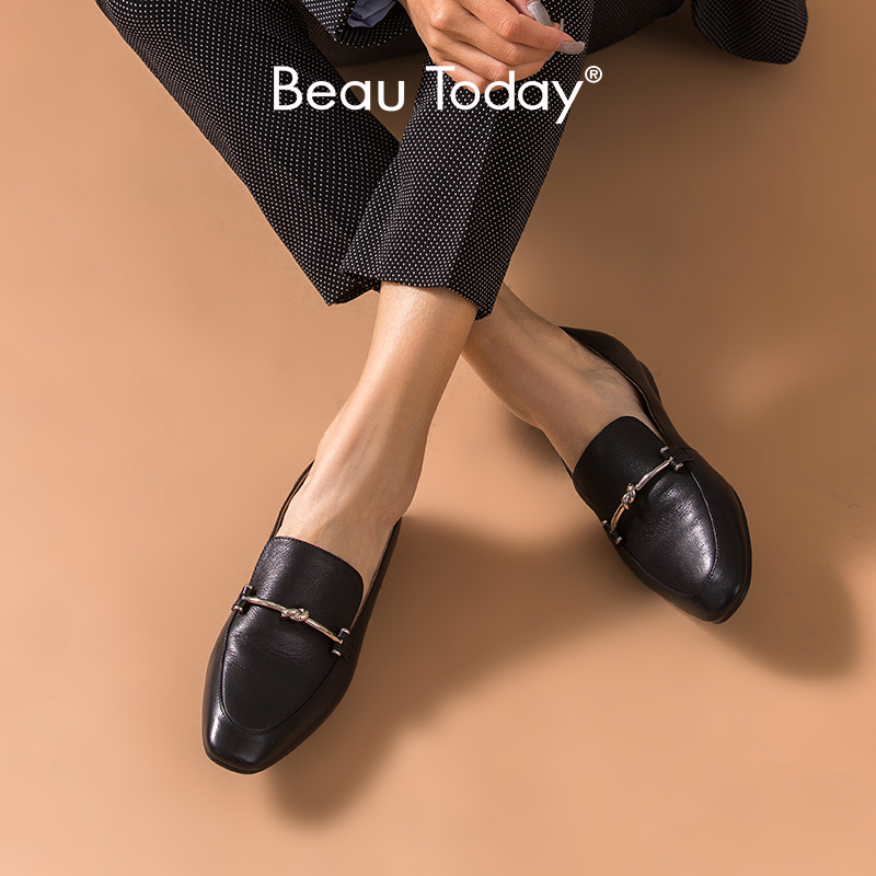 BeauToday Moccasin Loafers Women Cow Leather Round Toe Slip-on Metal Decoration Ladies Flats Handmade Shoes 27235