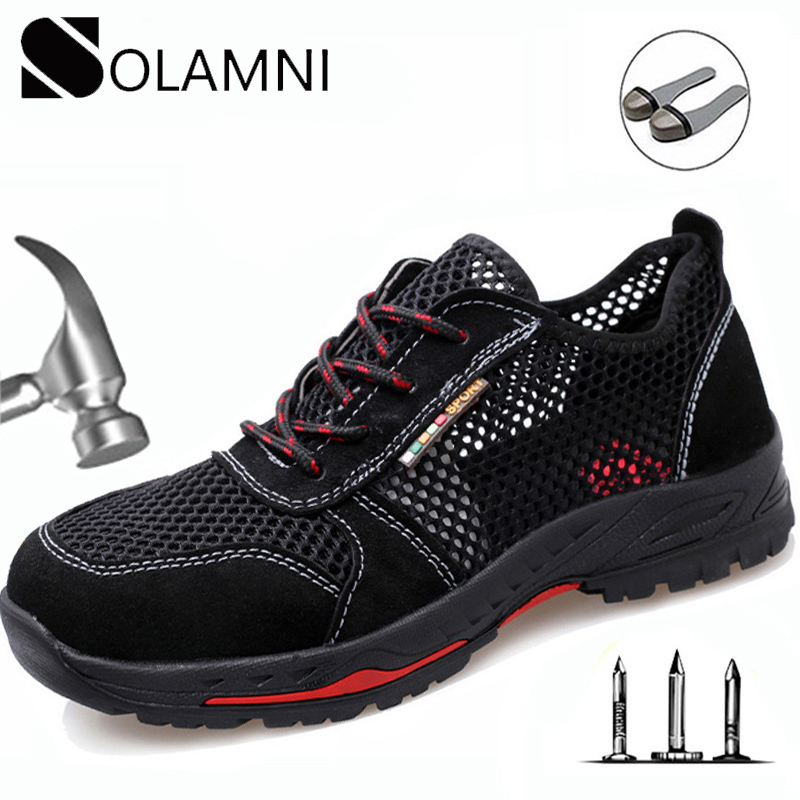 Summer Breathable Work Safety Shoes Men Women Steel Toe Anti-Smashing Construction Shoes Puncture Proof Mesh Industrial Sandals image