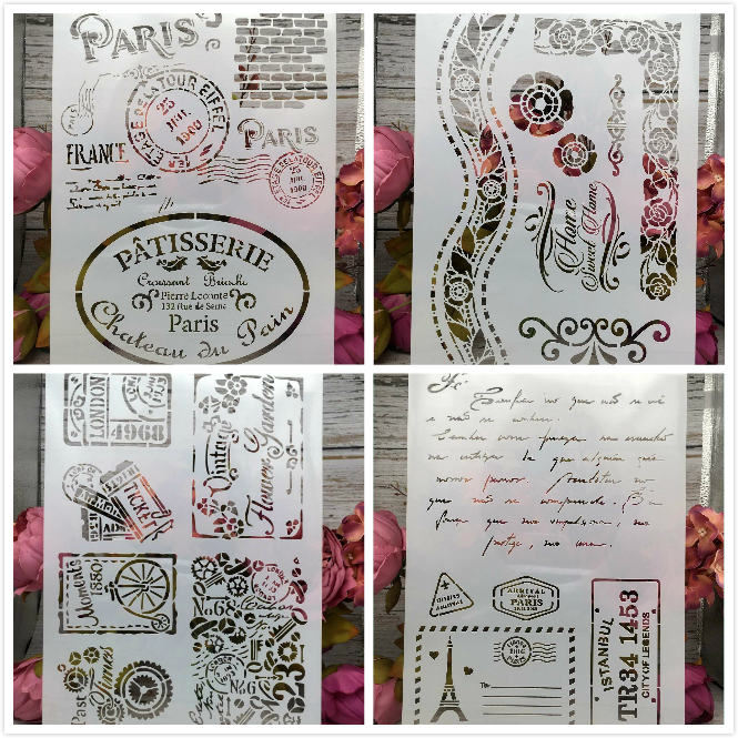 4Pcs/Lot A4 Paris Stamps DIY Layering Stencils Wall Painting Scrapbook Coloring Embossing Album Decorative Paper Card Template