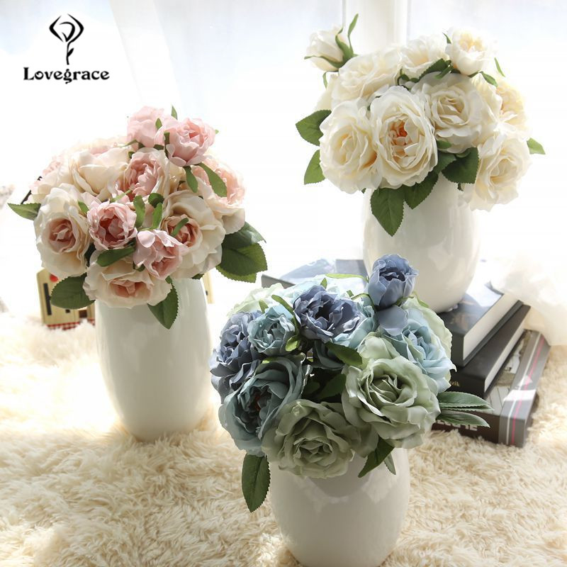 Artificial Silk Blooming Rose Flowers Bouquet Home Wedding Party Birthday Floral Decor Silk Big Rose Vase Flowers Arrangement