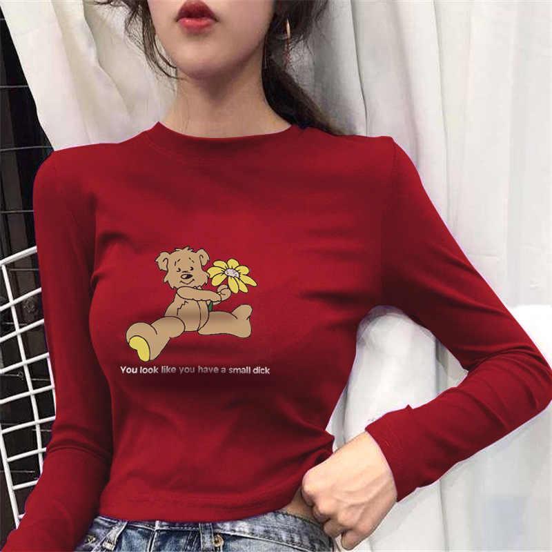 Plus Size Cartoon Letter Print Long T Shirts Summer Women Loose Slit Femme Tops Cotton Tshirt Long Sleeve Ladies T-shirt