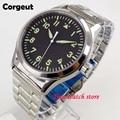 Автоматические часы Corgeut  42 мм  Miyota 8215  5ATM  мужские часы с сапфировым стеклом  водонепроницаемые  с черным стрелочным циферблатом  зеленые све...