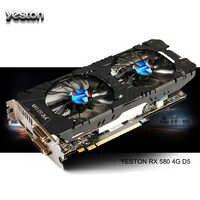 Tarjetas gráficas de PC de ordenador de escritorio para juegos Yeston RX 580 GPU 4GB GDDR5 256bit compatible con DVI/HDMI PCI-E X16 3,0