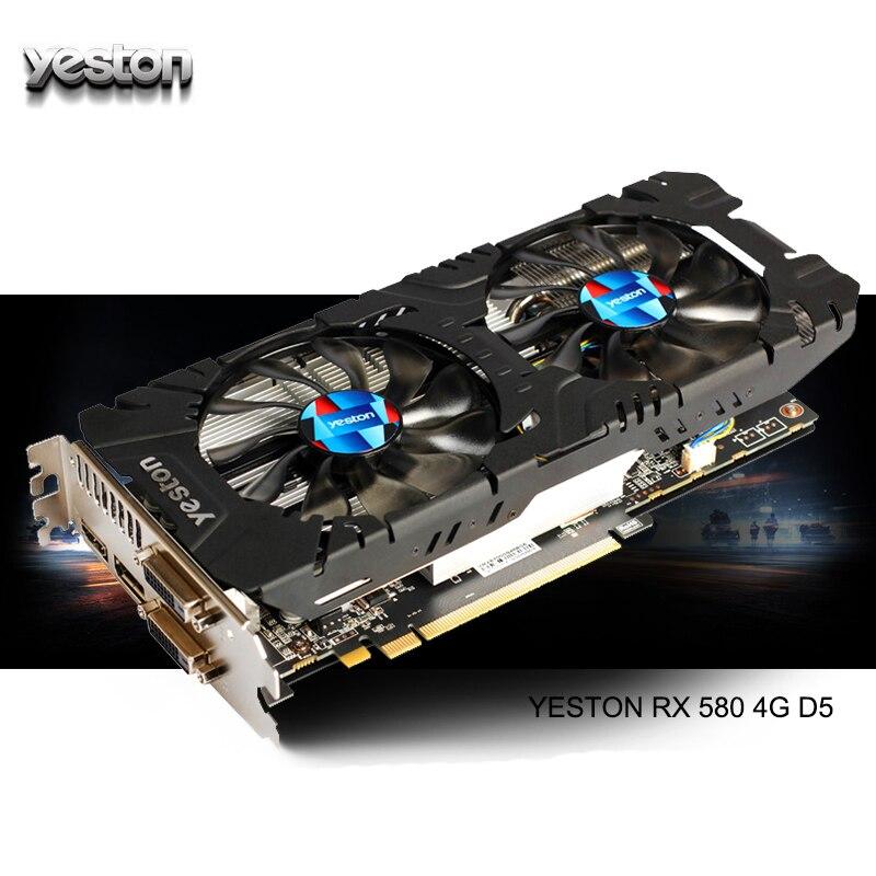 Yeston RX 580 GPU Radeon 4GB GDDR5 Gaming computador Desktop PC suporte a Placas De Vídeo Gráficos 256bit DVI/HDMI PCI-E X16 3.0