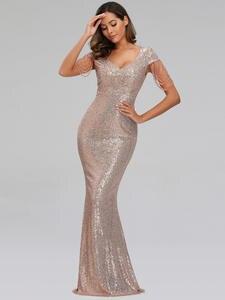 YIDINGZS Evening-Dress Sequins Elegant Women Long New V-Neck YD9663