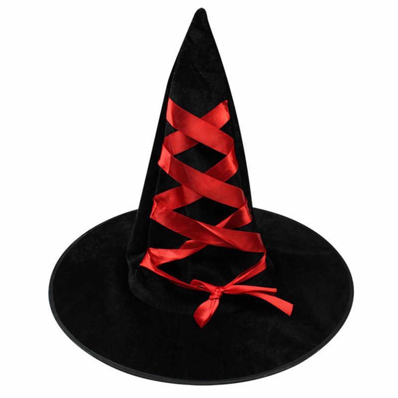 Halloween per adulti Velluto A Coste Cappelli di Streghe Cappello Superiore con il Nastro di Fantasia Cosplay di Nuovo Disegno Affidabile 1Pc Masquerade Feste Danzanti Cappellini
