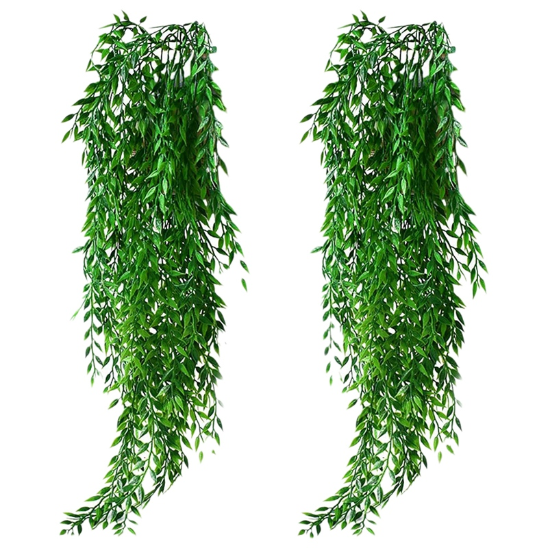 2pcs Artificial Hanging Plants Fake Ivy Garland Vine for Wall Home Garden