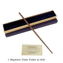 Cosplay metal/ferro núcleo hermione varinha mágica com caixa de presente pacote