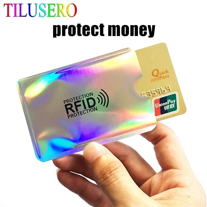 5PC New Multicolor Laser Aluminium Anti Rfid Wallet Blocking Reader Lock Bank Card Holder ID Bank Card Case Men Protection H119