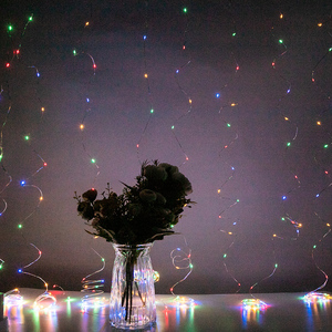 Image 2 - LED Curtain Lamp Garland White Copper String Light Remote Control USB fairy Curtain light Garland Bedroom Christma Light Outdoor