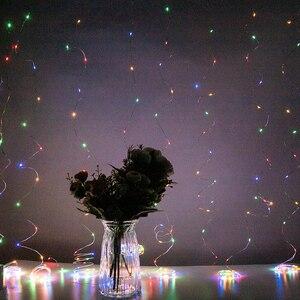 Image 2 - LED الستار مصباح جارلاند الأبيض إضاءة بسلك نحاسي التحكم عن بعد USB الجنية ستار مصابيح جارلاند نوم عيد الميلاد ضوء في الهواء الطلق