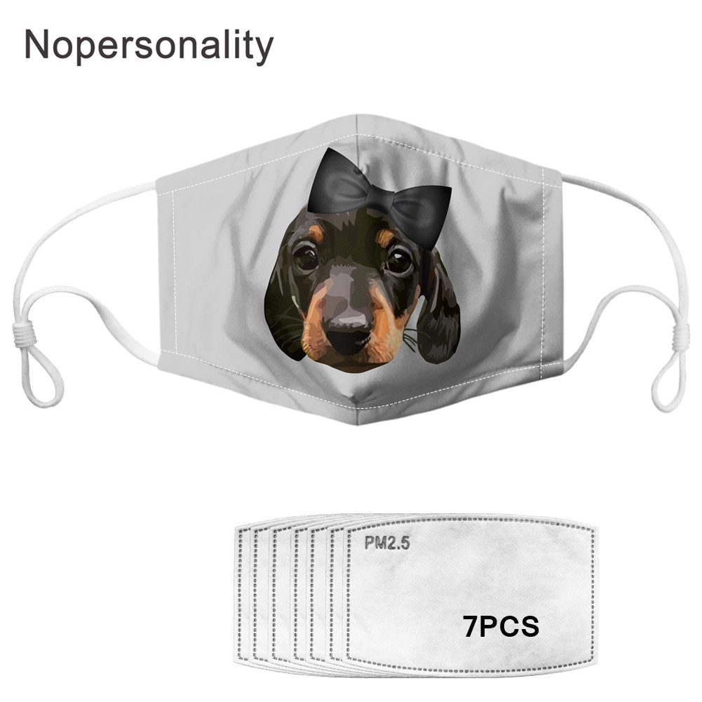 Nopersonality Cute Dachshund Print Mouth Mask With 7 Filter For Kids/Women/Men Face Mask Dustproof Elastic Mouth Cover Masks