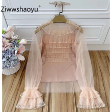 Ziwwshaoyu Sexy Mesh Pink Beading Sequin Blouse Top Women Elegant Flare Sleeve Casual Ladies Street Outwear