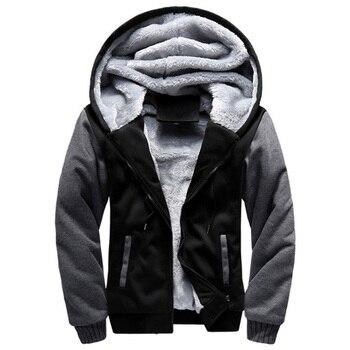 2021 New Men Hoodies Winter Thick Warm Fleece Zipper Men Hoodies Coat Sportwear Male Streetwear Hoodies Sweatshirts Men 4XL 5XL