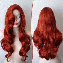 Carnival Movie Cosplay Girls Women Orange Red Wig Aquaman Mera Lady Sexy Long Curly Hair Stage Party Costumes Gothic Headwear(China)