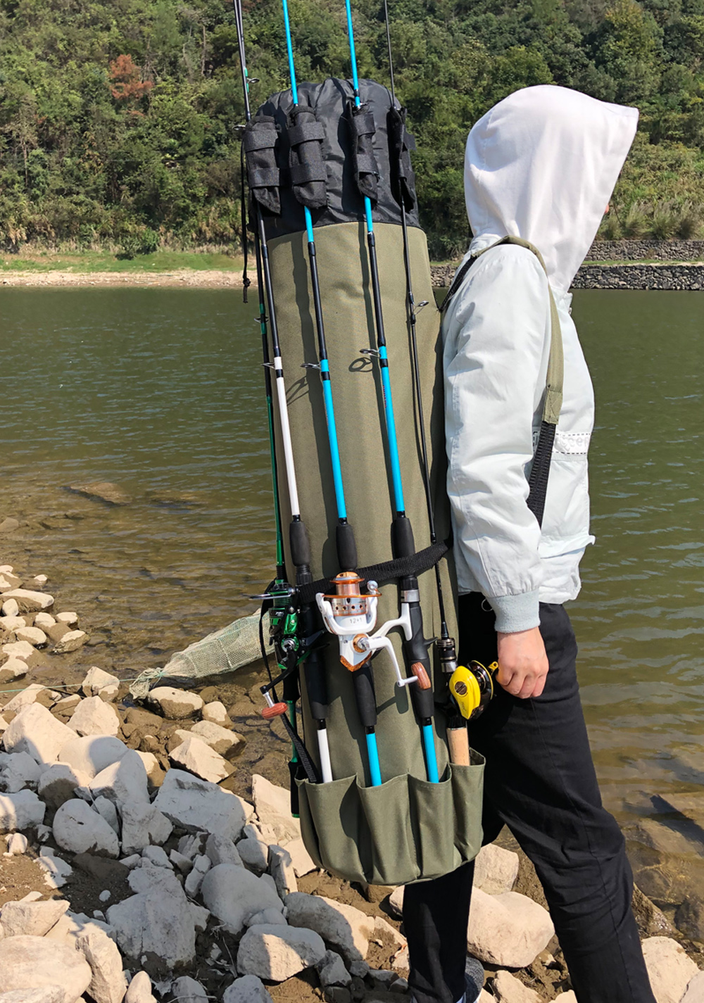 GHOTDA Fishing Bag Portable Multifunction Nylon Fishing Bags Fishing Rod Bag Case Fishing Tackle Tools Storage Bag