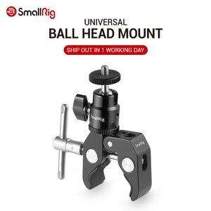 Image 1 - SmallRig DSLR kamera süper kelepçe tutucu w/topu kafa montaj sıcak ayakkabı adaptörü için Gopro, kamera ışığı, monitör eki 1124