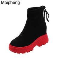 Moipheng nuevas Botas mujer 2019 Sexy rojo inferior zapatos altura creciente bandada encaje-Up tobillo Botas para mujer Botas zapatos De Mujer