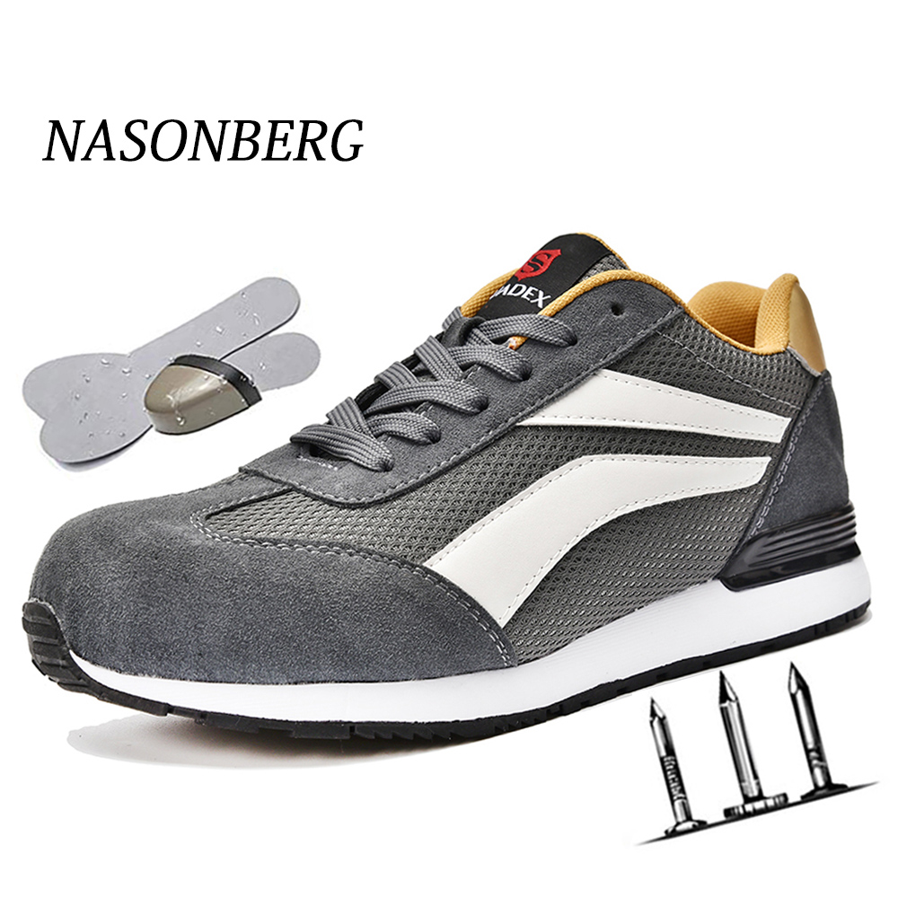 NASONBERG Grid Lightweight Breathable Casual Sneaker Prevent Piercing Protective Boots Men Steel Nose Safety Work Shoes