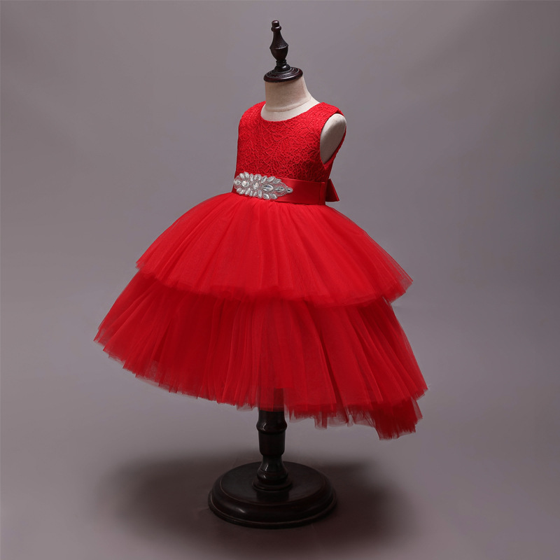 Girls Princess Dress Children Wedding Dress Tutu Cake Dress Flower Girl At Tailing Biao Yan Qun Host Flower Girl