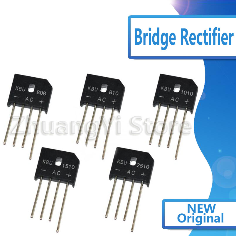 10pcs/lot KBU Rectifier Bridge Stack KBU608 KBU810 KBU610 KBU808 KBU1010 KBU1510 KBU2510 KBU3510  Flat Bridge Rectifier