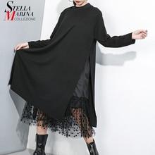 New Japanese Style 2019 Women Winter Solid Black Long Dress Side Split Mesh Hem Ladies Big Size Straight Dress Robe Femme J235