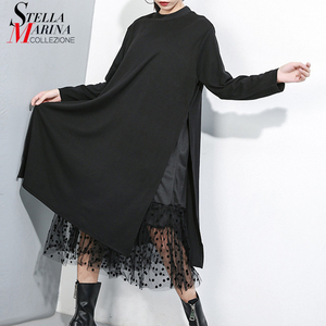Image 1 - Novo estilo japonês 2019 mulheres inverno sólido preto vestido longo lado split malha hem senhoras tamanho grande vestido reto robe femme j235