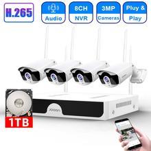H.265 8CH NVR 3MP 카메라 무선 NVR 키트 와이파이 보안 시스템 3MP 오디오 사운드 야외 CCTV IP 카메라 P2P 비디오 감시 세트