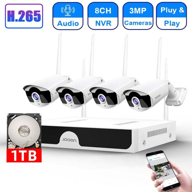 H.265 8CH NVR 3MP كاميرا لاسلكية طقم NVR واي فاي نظام الأمن 3MP الصوت الصوت في الهواء الطلق CCTV IP كاميرا P2P مجموعة مراقبة الفيديو