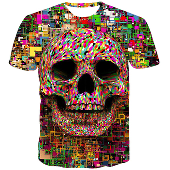 UNEY Rainbow Skull T Shirt Graphic Top For Men US Size Shirt Round Neck Tees 3D Print Tee Shirt La Tattoos Short Sleeve цена 2017