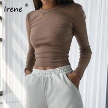 Irene – t-shirt à manches longues et col rond pour femme, haut court et Sexy, décontracté, couleur unie, noir et blanc, Y2K