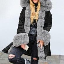Warm Plush Winter Parkas Faux Fur Coats Women Long Coat Padded Jacket Plus Size Hooded Streetwear Black Warm Outwear Oversize цена