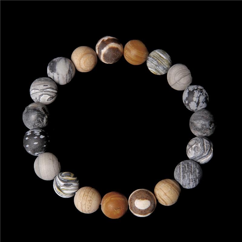 Pulsera con sistema Solar universal para hombre y mujer, pulsera con piedra Natural, planetas, Yoga, Chakra, amigos, joyería energética, 10MM Pulseras de hilo  - AliExpress