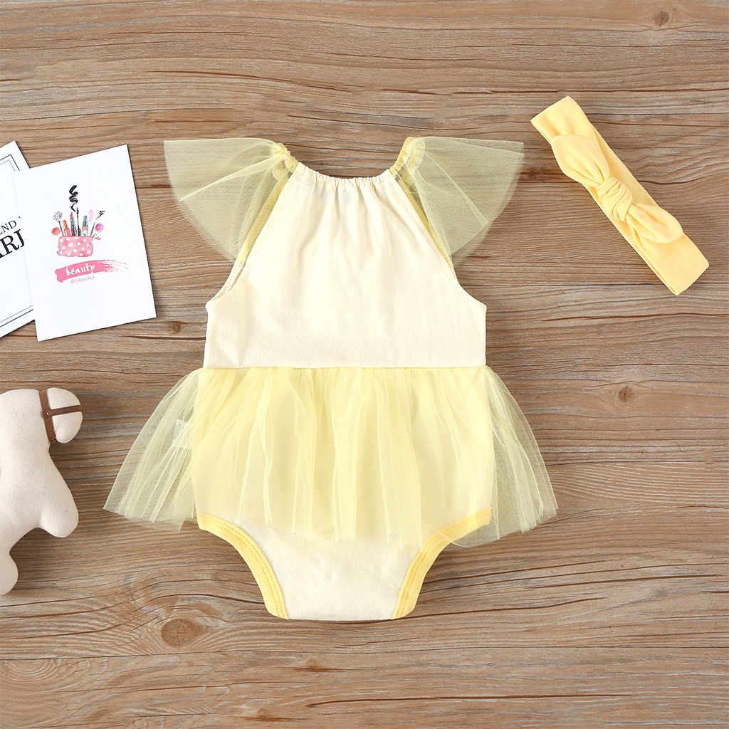 Newborn Baby Clothes Summer Romper Cartoon Patchwork Gauze Tulle Princess Bodysuit Hairband Outfits Infant Clothing Girls Romper