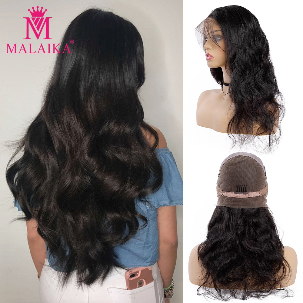 MALAIKA Christmas Body Wave Full Lace Human Hair Wigs With Baby Hair Pre Plucked Brazilian Full Lace Wigs For Black Women