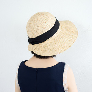 Image 2 - ליידי רחב גדול מגן שמש כובע לנשים טבעי ספארי קש כובע חוף צל רפיה כובע