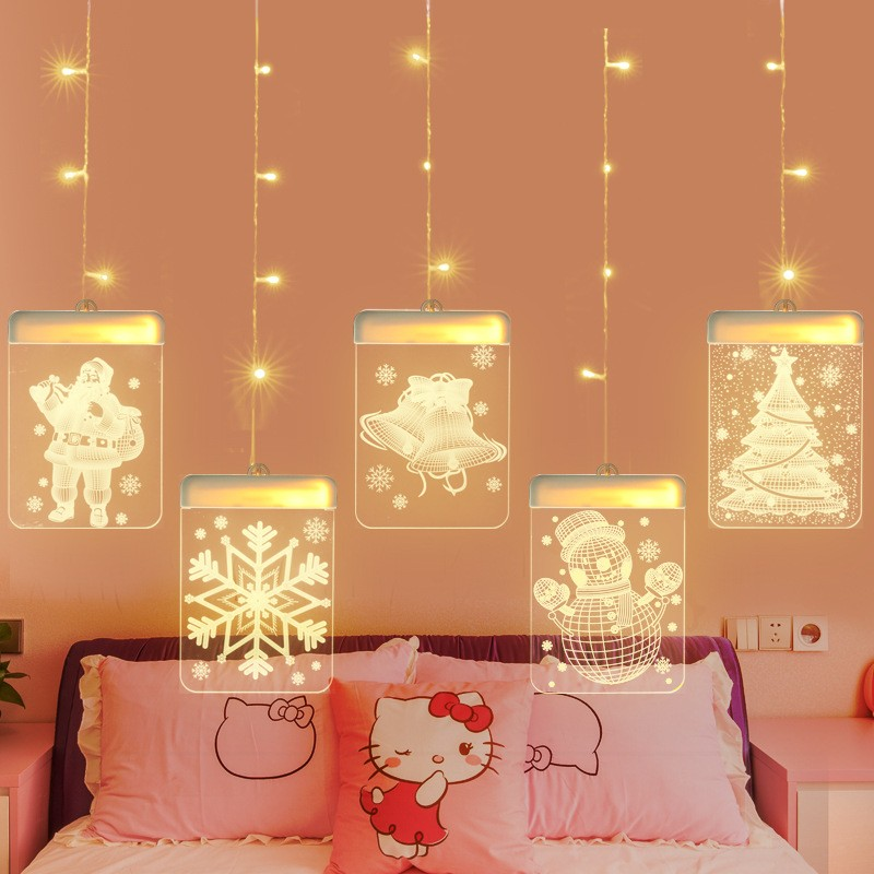 Christmas 3D Decorative Lights Window Room Decoration Lantern String USB Powered LED Strip Light 1.5m 5Pcs Christmas Decoration