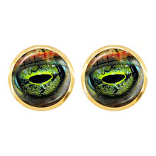 New Dragon Snake Owl Cat Tiger Earrings Fiery Dragon Jewelry Glass Cabochon Animal Eyes Stud Earrings For Women Girls Gift(China)