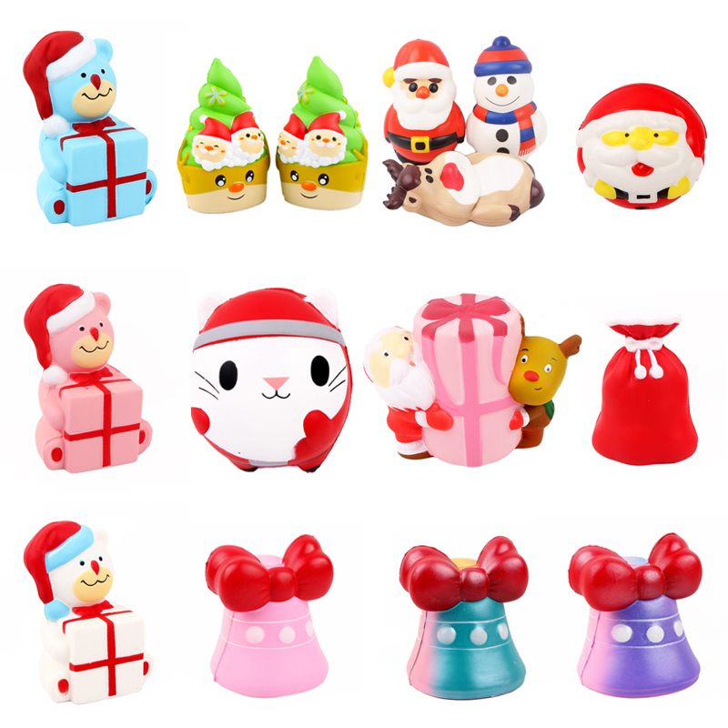 Kawaii Colorful Christmas Squishy Doll Soft Slow Rising Stress Relief Squeeze Toys For Baby Funny Kids Xmas Gift Children Toy