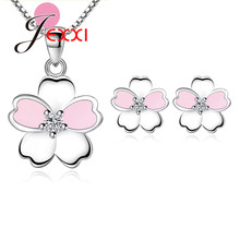 Hot Sale 925 Silver Bridal Jewelry Gift Sets for Brides Wedding Engagement Enameled Sakura Flower Earrings Pendant Necklace(China)