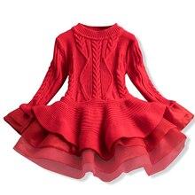 Рождественское осенне-зимнее платье для девочек; детская одежда; Детские платья для девочек; праздничное платье; вязаный свитер с длинными рукавами; платье для маленьких девочек