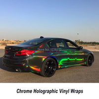 high end upgrade Holographic Chrome air release channels Chrome black Holographic Vinyl For Car foil Chameleon Vehicle Wrap