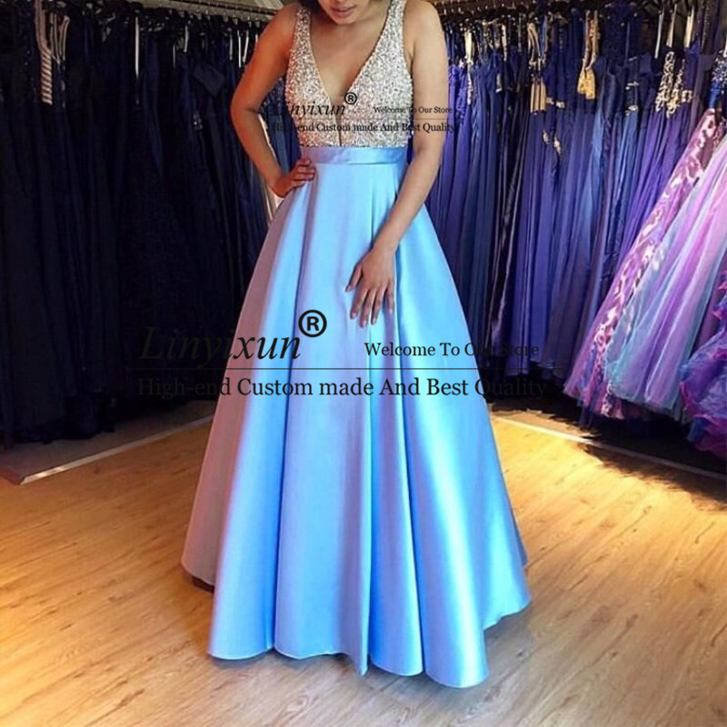 Sexy Long Satin Prom Dresses For Women Beaded Floor Length Custom Made Gala Jurken Special Occasion Event For Women Wear