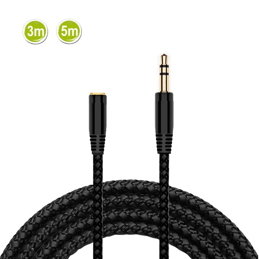 3 м/5 м Удлинительный кабель для наушников 3,5 мм разъем штекер-гнездо AUX кабель m/F аудио стерео Удлинитель шнур для наушников кабель 3,5 мм