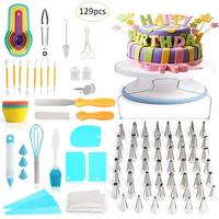 129PCS/set Cake Decorating Kit Cake Turntable Piping Tip Nozzle Pastry Fondant Tool DIY Baking Tool Supplies Baking Accessories