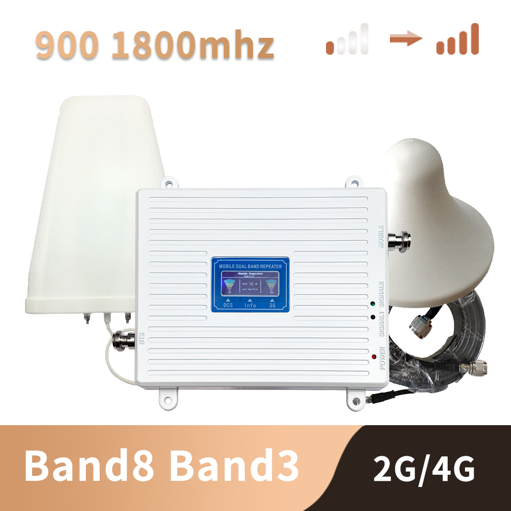 Band3 Band8  4G 2G 900 1800 Mhz Dual Band Cell Phone Cellular Signal Repeater Amplifier GSM DCS LTE Mobile Phone Signal Booster